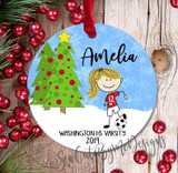 Personalized Girls Soccer Christmas Ornament