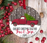 Personalized Our First Christmas as Mr. and Mrs. Red Truck Christmas Ornament