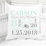 Birth Announcement Pillow - Girls Mint and Gray Elephant - Custom Pillowcase with Pillow Insert