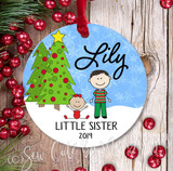 Christmas Ornament – Personalized little sister - light skin
