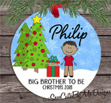 Christmas Ornament – Personalized big brother to be - medium skin