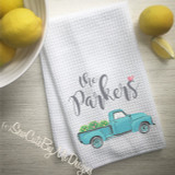 Personalized Kitchen Towel - Teal Blue Truck with Spring Flowers