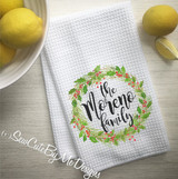 Personalized Christmas Kitchen Towel - Watercolor Christmas Wreath