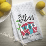 Personalized Camper Kitchen Towel - Camping Kitchen Towel - Teal Red Polka Dots - Personalized