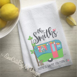 Personalized Camper Kitchen Towel - Personalized Camping Kitchen Towels - Home is Where You Park It - Aqua Green Coral - with custom pets