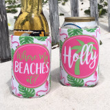 Beach Vacation Koozies or coolies - where my beaches at pink and green palm flamingo