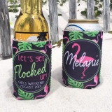Graphics Beach Vacation Koozies or coolies - let's get flocked up flamingo koozies - black