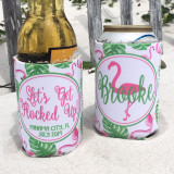 Graphics Beach Vacation Koozies or coolies - let's get flocked up flamingo koozies