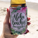 Beach Vacation Koozies or coolies - Aloha Beaches - Tropical Hibiscus koozies - white