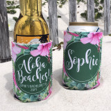 Beach Bachelorette Vacation Koozies or coolies - Aloha Beaches - Tropical Hibiscus koozies