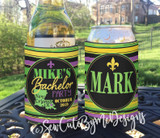 Mardi Gras New Orleans Bachelor Party Koozies or coolies - stripes - graphics