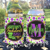 Mardi Gras Koozies or coolies - dots - state - New Orleans Bachelorette Koozies