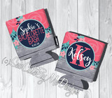 Bachelorette Koozies - Coral Navy Mint Floral - graphics