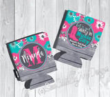 Bachelorette Koozies - Pink Teal Floral - Let's Get Shitty in Music City