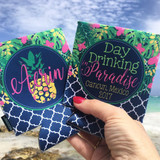 Beach Vacation Koozies or coolies - Mexico Koozies - Day Drinking in Paradise - set