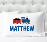 Personalized train pillowcase - boys train pillow case