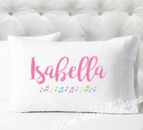 Pastel Music Notes Personalized girls standard size pillow case
