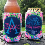 Beach Vacation Koozies or coolies - crab - sandy toes and salty kisses