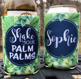 Bachelorette Beach Vacation Koozies or coolies - Shake your palm palms - Tropical koozies - set