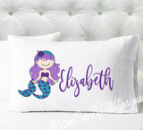Mermaid Personalized girls standard size pillow case - Purple and Teal