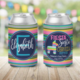 Fiesta Birthday, Bachelorette, Vacation KOOZIES ® -Fiesta Siesta Cerveza Repeat - pink and teal