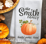 Personalized Watercolor Pumpkin Fall Kitchen Towel