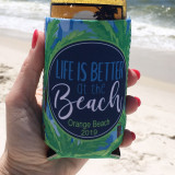 Beach Vacation Koozies or coolies - Life is Better at the Beach - hand - blue palm trees