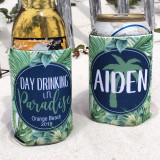Beach Vacation Koozies or coolies - Day Drinking in Paradise - print