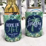 Beach Vacation Koozies or coolies - Tropic Like It's Hot - script