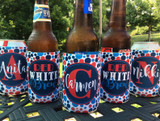 Personalized fourth of july koozies - red white and brew