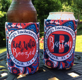 Personalized paisley 4th of July bachelorette koozies - red white and boozed