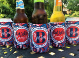 Personalized paisley Fourth of July bachelorette koozies - red white and boozed