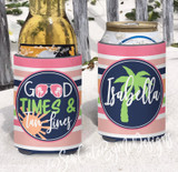 Beach Koozies - Vacation Koozies - Good Times and Tan Lines - Coral and Peachy Stripes