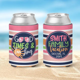Beach Koozies - Family Vacation Koozies - Good Times and Tan Lines - Coral and Peachy Stripes