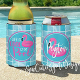 Pool Party Koozies or coolies - flamingo floaty - life is cool by the pool