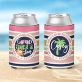Bachelorette Beach Koozies - Vacation Koozies - Good Times and Tan Lines - Coral and Peachy Stripes - outer circle