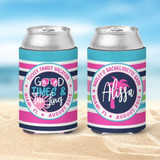 Bachelorette Beach Koozies - Vacation Koozies - Good Times and Tan Lines - Pink and Aqua Stripes - outer circle