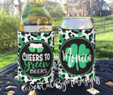 St Patricks Day Koozies - Cheers to Green Beers - White Leopard - Standard Size Neoprene Koozies