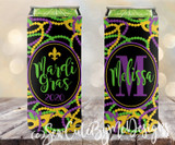 Mardi Gras New Orleans Koozies - Beads and Masks - SLIM Size Neoprene Koozies