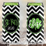 St Patricks Day Koozies - chevron - SLIM Size Neoprene Koozies - Shamrocks