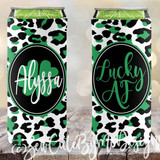 St Patrick's Day Slim koozies, lucky af, white green leopard print