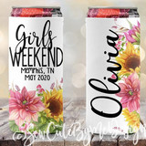 Watercolor SLIM bachelorette koozies - sunflower