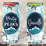 Mountain Ski Vacation Slim koozies, Party on the Peaks