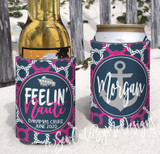 Neoprene Koozies - Cruise Beach Vacation - Feelin Nauti - Nautical Navy Pink