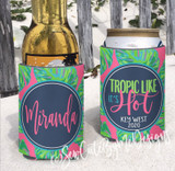 Beach Vacation Koozies - Bright Tropic Palms - Tropic Like it's Hot