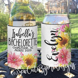 Bachelorette Party or Girls Weekend Vacation Getaway Koozies - Watercolor Sunflower