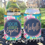 Social Distancing Expert Gift for Girls Night In - KOOZIES® or Neoprene can coolers - Pink, Peach and Aqua Floral