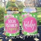 Social Distancing Expert Koozies - pink and green floral
