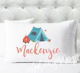 campfire camping tent Personalized girls standard size pillow case