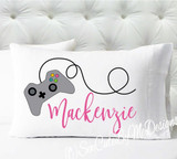 Personalized pillow case - girls pink video game controller - case only - pillow not included
